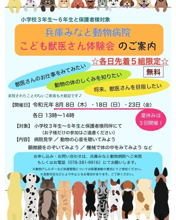 【こども獣医さん体験会開催のご案内】毎回ご好評いただいています『こども獣医さん体験会』を夏休みに開催します(↓体験会の様子はコチラ↓)https://hyogominato-ah.com/blog/夏休みの自由研究にいかがですか?